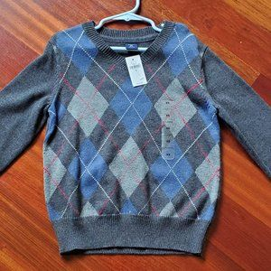 GapKids Blue/Gray Argyle Sweater XS (4-5)